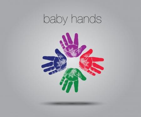 baby handprints concept  Stock Vector - 17048603