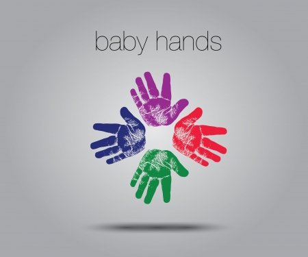 four people: baby handprints concept