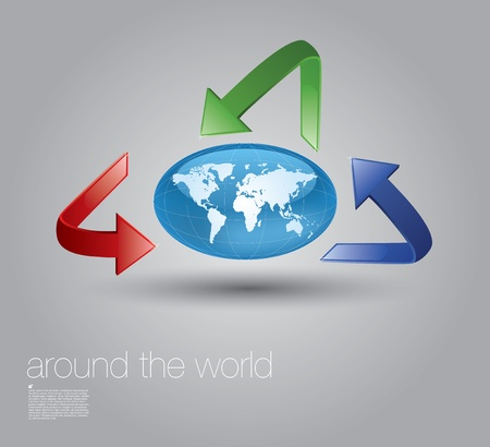 world globe and arrows  Vector