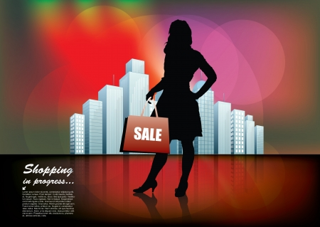 woman and the city Stock Vector - 17048359