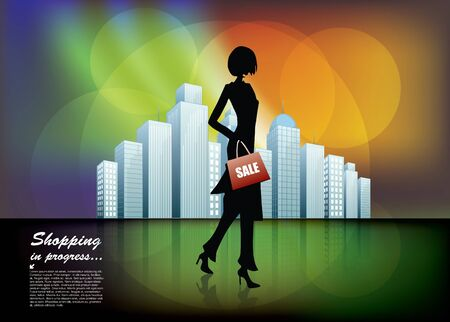 woman and the city  Stock Vector - 17048360