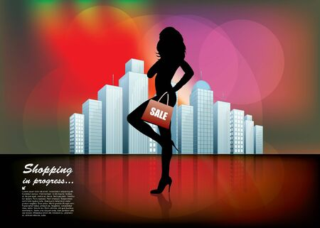 woman and the city Stock Vector - 17048358