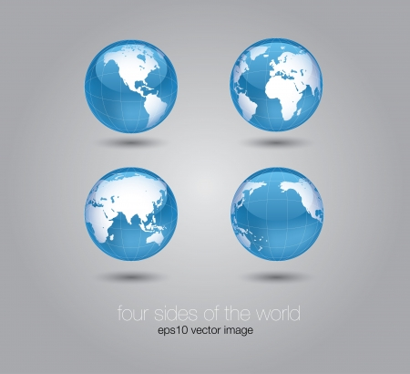 glossy world globe set concept  Illustration