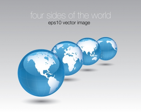 glossy world globe set concept  Vector