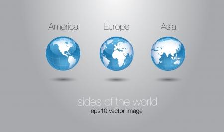 glossy world globe set concept  Illustration