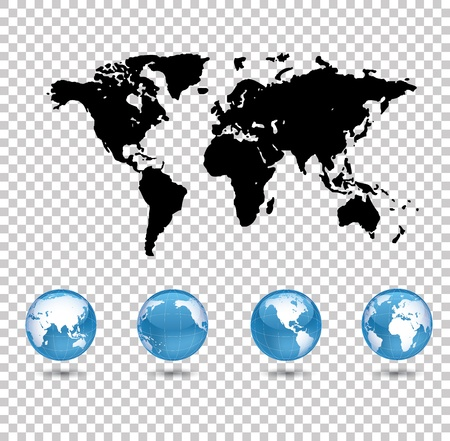 world map and four world globes on transparent background  Vector
