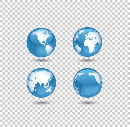 four world globes on transparent background Stock Vector - 17240655