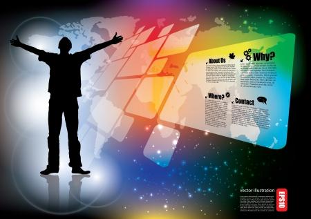 virtual space: uomo d'affari su sfondo digitale