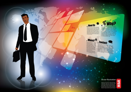 business person on digital background Stock Vector - 17240735