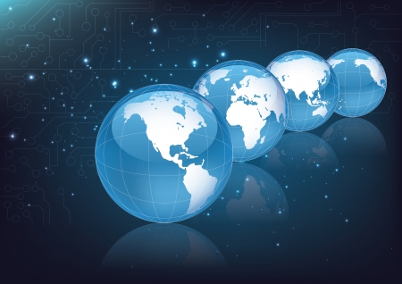 world globes on space background  Vector