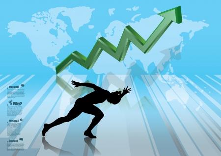 runner up: business chart and running man