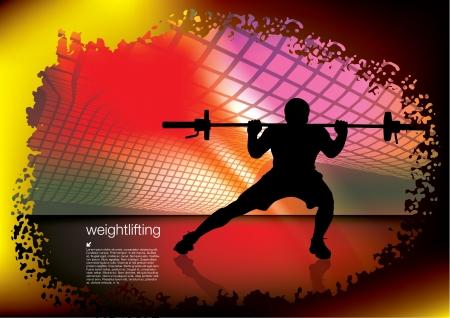 disciplina: levantador de pesas en el fondo abstracto