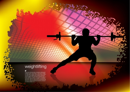 weightlifter on abstract background
