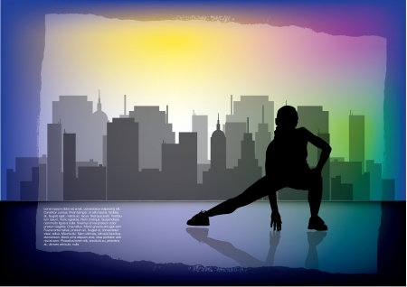 somersault: woman workout on city background