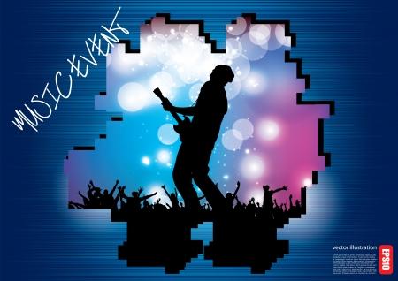 guitariste: concept de roche affiche de concert Illustration