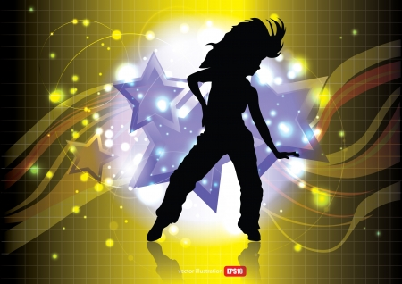 dancer on abstract background   Vector