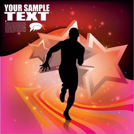 running race: runner on stars background   Illustration