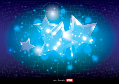 Glowing Neon Blue Stars Background   Stock Vector - 18134807