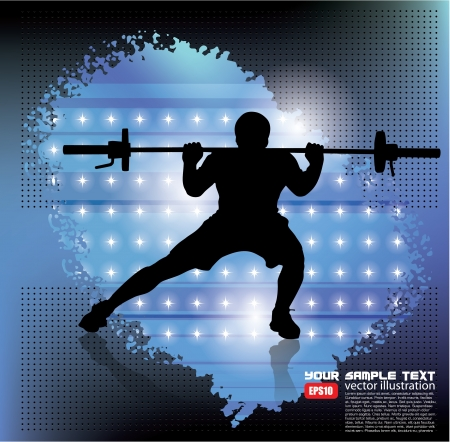 weightlifter on abstract background   Vector