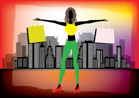 woman shopping on city background   photo