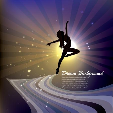 droom achtergrond met dansende vrouw silhouet Stock Illustratie
