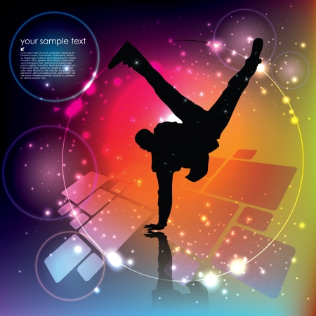 street dance: dancing boy on abstract background