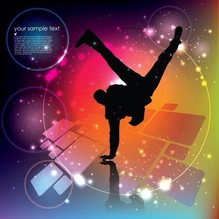 straat feest: dansende jongen op abstracte achtergrond