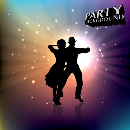 passion couple: dancing couple in spot light   Illustration