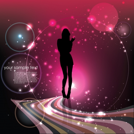 decorative woman on dreamy background   Vector