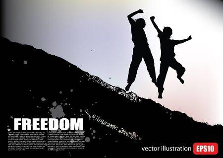 celebrate life: jumping people background   Illustration