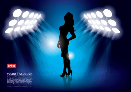 woman in the lights   Vector