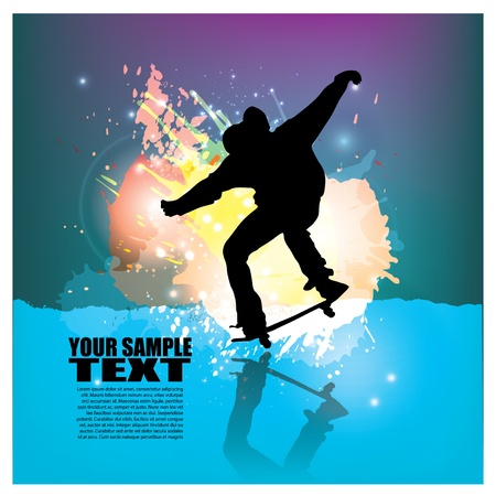 grunge skateboarder background   Vector