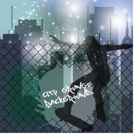 torn metal: skateboarder on city grunge background   Illustration