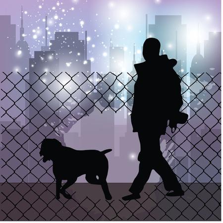 dog walker: dog walking city background