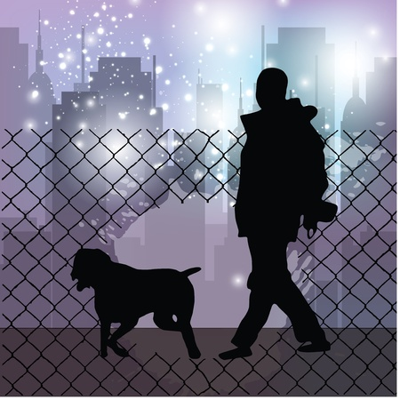 dog walking city background Stock Vector - 19177341