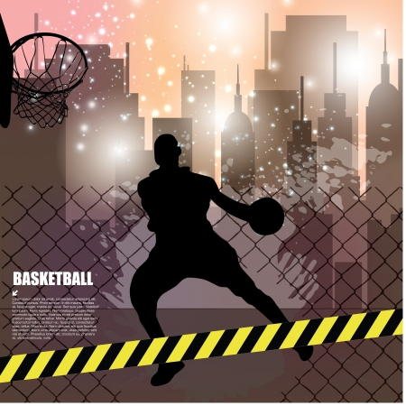 individual sport: street basketball background   Illustration