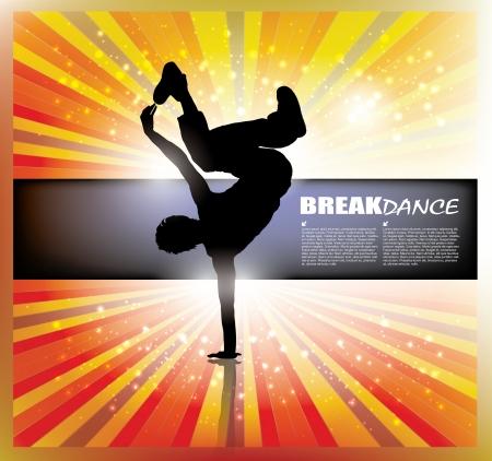 disco dancer: dancing boy background   Illustration