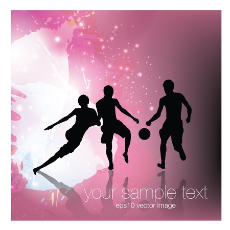 boys playing football on abstract background   Vector
