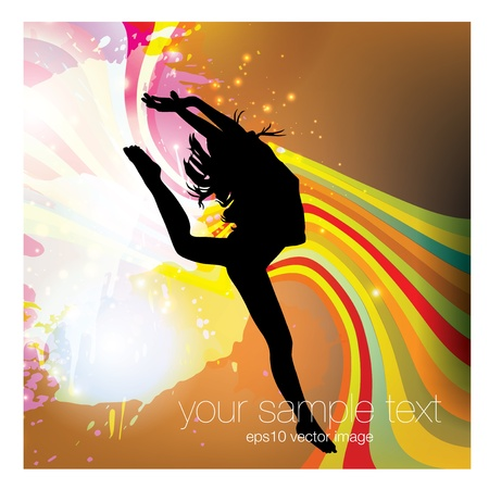 dancing woman on abstract background   Vector