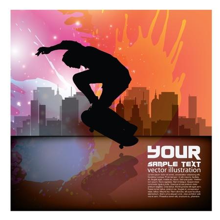 skateboard park: fondo del grunge skateboarder Vectores