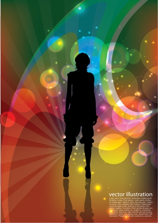 fashion woman on bright abstract background   Vector
