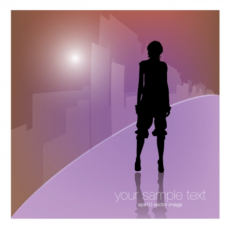 woman on city background   Vector