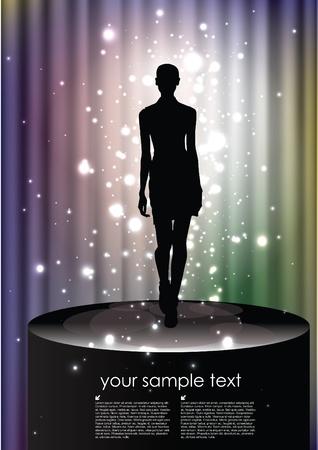 celebrities: fashion woman on magic background Illustration