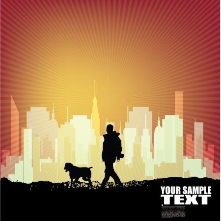 dog walking city background