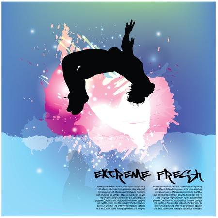 trampoline: dynamic person background Illustration