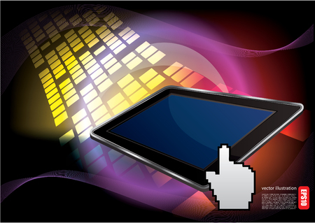 tablet on digital background Vector