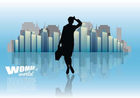 businesswoman and city Illustration