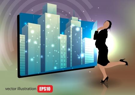 city background: businesswoman on city background