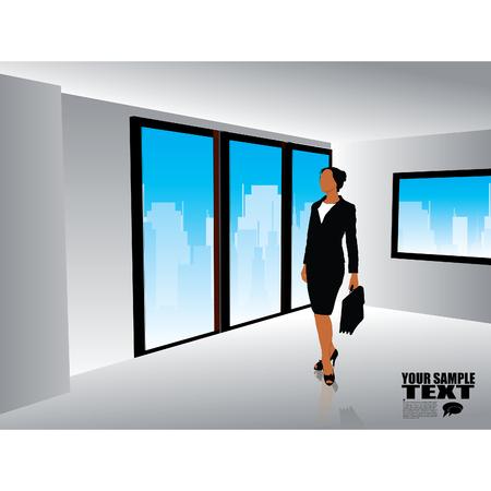 modern interior: businesswoman in modern interior Illustration