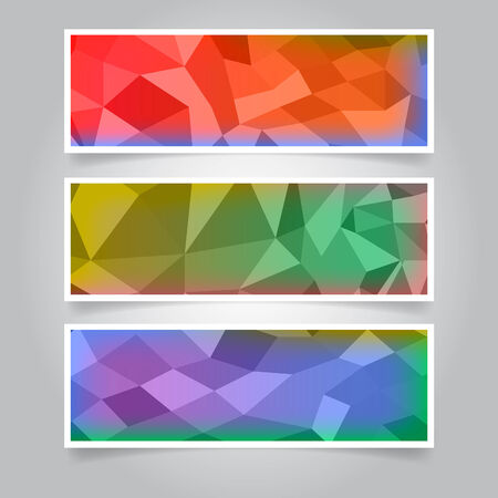 pink and black background: Set of Mosaic Banners Stock Photo